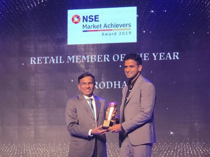 Zerodha  won the best retail brokerage firm for 2019 by NSE